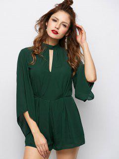 Cut Out Stand Neck Tied Romper - Army Green S