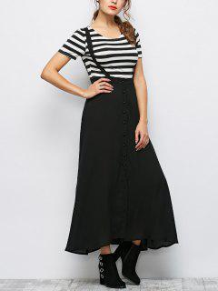 Button Front Maxi Braces Skirt - Black S