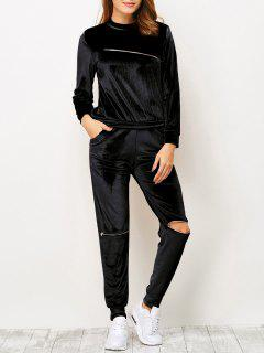 Zippers Velvet T-Shirt And Sports Pencil Pants - Black S