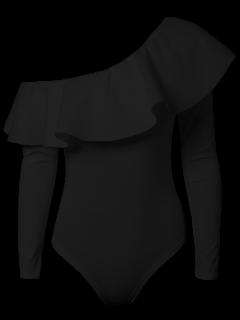 Ruffles Long Sleeve Skinny Bodysuit - Black Xl