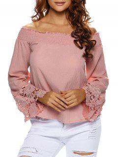 Lace Cuff Off The Shoulder Blouse - Papaya S
