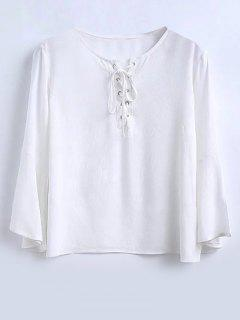 Flowy Lace Up De Bell Blouse Manches - Blanc L