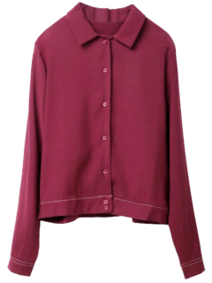 Topstitching Tiger Print Shirt - Wine Red L