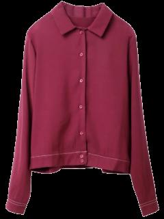 Topstitching Tiger Print Shirt - Wine Red M
