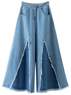 High Rise Jeans Desgastados Culotte - Denim Blue S