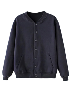 Button Up Baseball Jacket - Bleu Violet Xxs