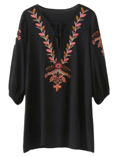 Embroidered Lace Up  Mini Tunic Dress - Black S