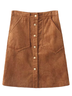 High Waist Single Breasted A-Line Skirt - Brown S