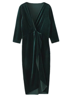 Asymmetric Velvet Midi Wrap Dress - Blackish Green L
