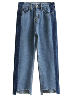 Frayed Mom Fit Jeans - Denim Blue S