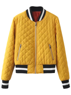 Zip Up Acolchada Chaqueta Experimental - Amarillo S