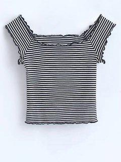Hombro Volantes Rayada Camisa Corta - Raya S