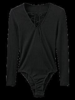 Skinny Ribbed Lace Up Bodysuit - Black S