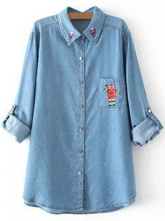 Embroidered Plus Size Denim Shirt - Denim Blue 3xl