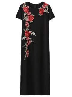 Robe à Manches Courtes Avec Broderie Florale - Noir S