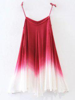 Ombre Trapeze Slip Dress - Rouge L