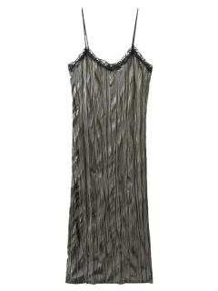 Crushed Velvet Slip Dress - Grey Olive L