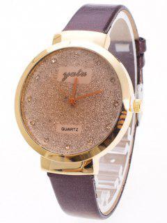 Rhinestone Glitter Quartz Watch - Coffee