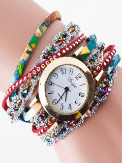 Rhinestone Wrap Bracelet Watch - Red