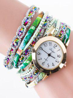 Rhinestone Wrap Bracelet Watch - Green