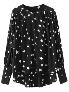 Buttoned Stars Print Blouse - Black L