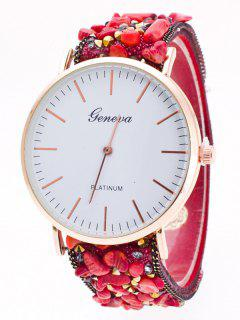 Faux Stone Studded Analog Watch - Red