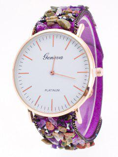 Faux Stone Studded Analog Watch - Purple