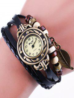 Faux Leather Strand Bracelet Watch - Black