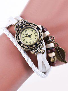 Montre-Bracelet En Fil De Simili Cuir - Blanc