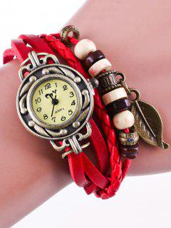 Faux Leather Strand Bracelet Watch - Red