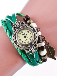 Faux Leather Strand Bracelet Watch - Green
