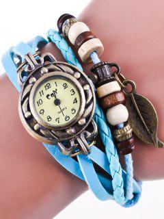 Montre-Bracelet En Fil De Simili Cuir - Azur
