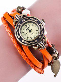 Faux Leather Strand Bracelet Watch - Orangepink