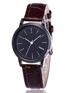 Faux Leather Analog Wrist Watch - Coffee