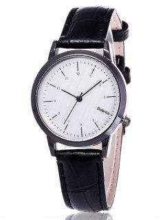 Faux Leather Analog Wrist Watch - White And Black