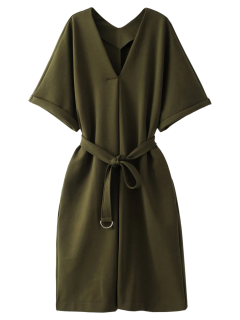 Tie Waist Kimono Sleeve Work Dress - Army Green S