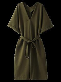 Vestido De Trabajo De La Manga Cintura Del Lazo Del Kimono - Verde Del Ejército S