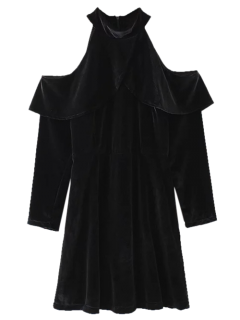 Cold Shoulder Ruffles Robe En Velours - Noir L