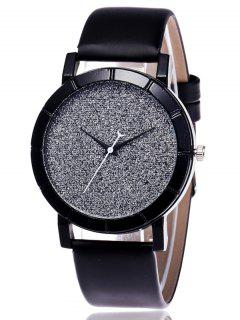 Faux Leather Glitter Analog Watch - Black