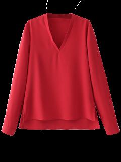 Abotonado Puños De La Blusa De Cuello En V - Rojo S