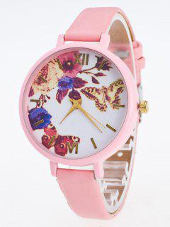 Faux Leather Flower Butterfly Watch - Pink