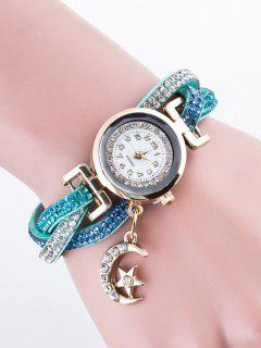Rhinestone Studded Bracelet Watch - Light Blue