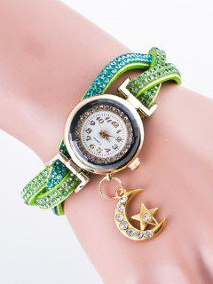 Rhinestone Studded Bracelet Watch - Green