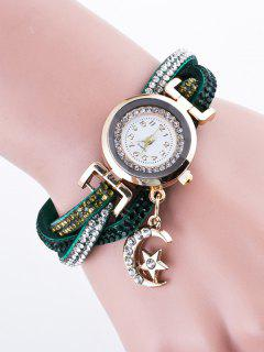Rhinestone Studded Bracelet Watch - Deep Green