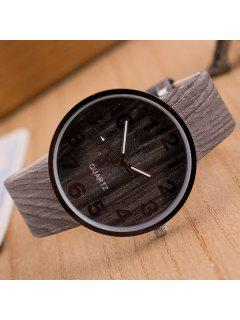 Faux Leather Wood Grain Watch - Gray
