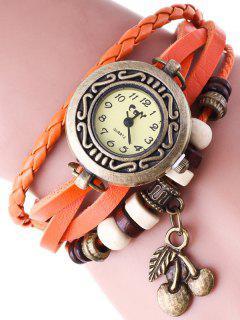 Montre Bracelet En Faux Cuir  - Tangerine