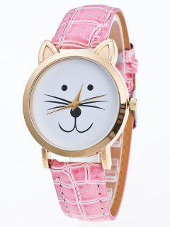 Faux Leather Cartoon Cat Watch - Pink