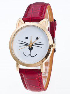 Faux Leather Cartoon Cat Watch - Red