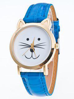 Faux Leather Cartoon Cat Watch - Blue