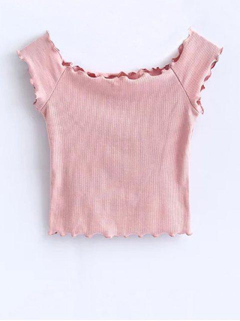 T-shirt court à épaules tombantes avec décoration de falbalas - ROSE PÂLE S Mobile